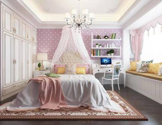 女孩房, 卧室, 床具组合, 桌椅组合, 衣柜组合, 吊灯组合, 欧式