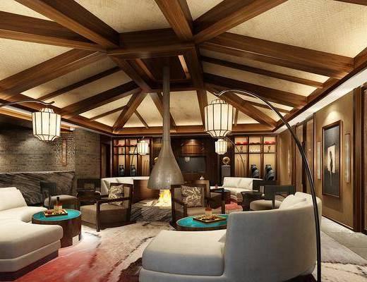 多人沙发, 圆弧沙发, 茶几, 落地灯, 单人沙发, 装饰画, 挂画, 壁灯, 摆件, 装饰品, 陈设品, 火炉, 文化石, 地毯, 休闲沙发组合, 美式