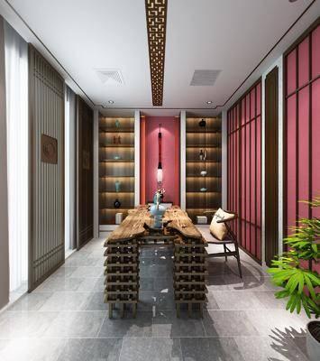 茶室, 书房, 桌子, 单人椅, 茶桌, 装饰柜, 盆栽, 装饰品, 陈设品, 摆件, 新中式
