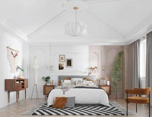 边柜, 摆件组合, 吊灯, 单椅, 双人床, 装饰画
