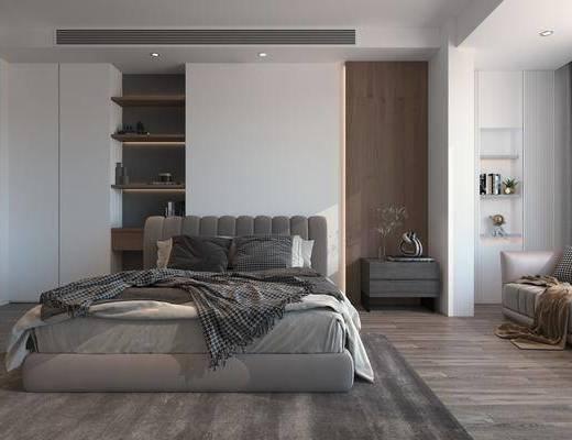 双人床, 床头柜, 单椅, 墙饰