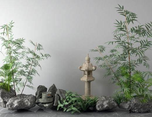 景观园林, 新中式景观园林, 植物, 石头