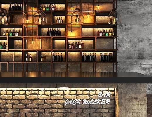 工业风, 吧台, 酒瓶, 酒柜, 柜台, 现代, 下得乐3888套模型合辑