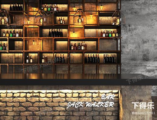 工业风, 酒吧吧台, 吧台, 酒瓶, 酒柜