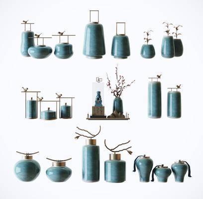 陶瓷瓶罐, 装饰摆件, 陶瓷器皿, 新中式