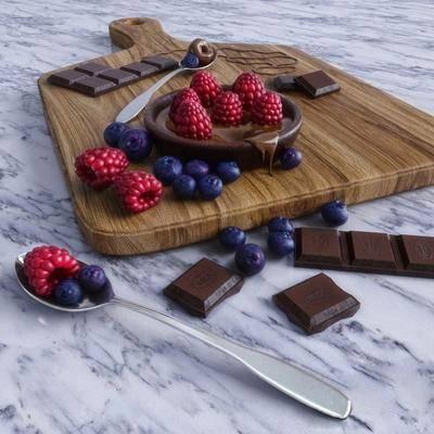 现代切菜板, 巧克力, 蓝莓, 切菜板, 水果, 现代
