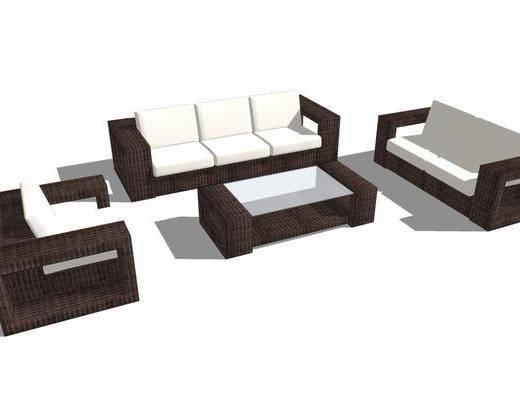 沙发组合, 单椅, 茶几