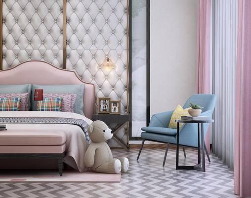 现代儿童房, 现代卧室, 现代, 玩偶, 椅子, 床, 公主床, 脚踏