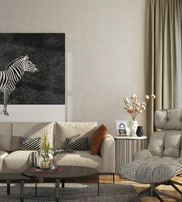 沙发组合, 沙发茶几组合, 单人沙发, 装饰画, 编辑, 角几, 现代