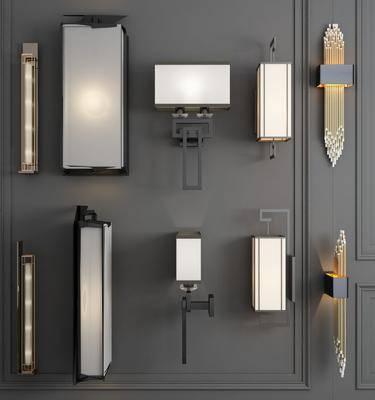 壁灯组合, 金属壁灯, 新中式