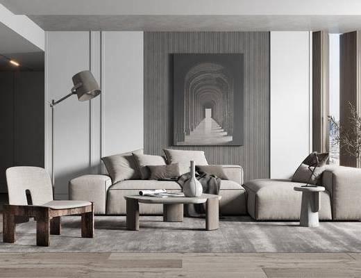 沙发组合, 装饰画, 茶几, 单椅, 落地灯