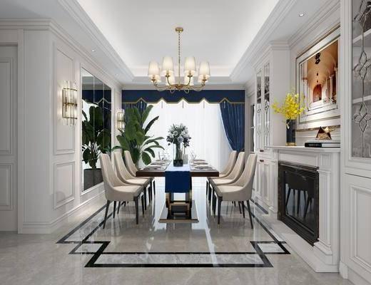 餐厅, 餐桌, 餐椅, 单人椅, 花瓶花卉, 吊灯, 壁灯, 装饰画, 挂画, 摆件, 装饰品, 陈设品, 美式