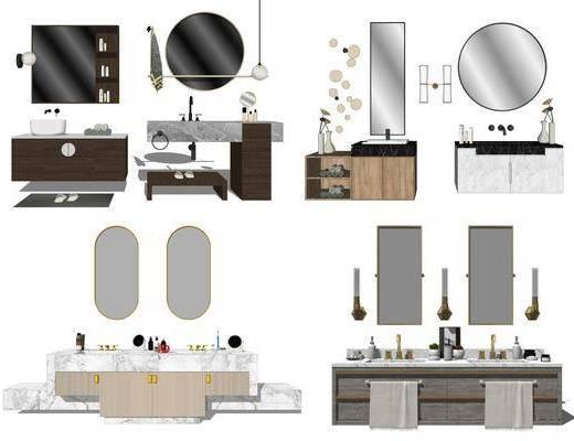 浴室柜, 洗漱台, 洗手盆, 壁镜, 摆件组合