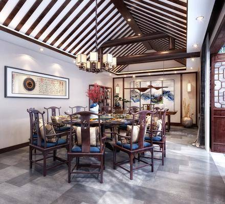 新中式餐廳, 中式餐廳, 餐廳, 餐桌椅, 桌椅組合