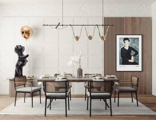 现代餐厅, 餐桌椅, 吊灯, 中装饰画