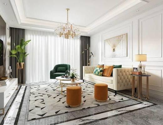 沙发组合, 墙板, 挂画, 吊灯, 地毯, 水晶灯