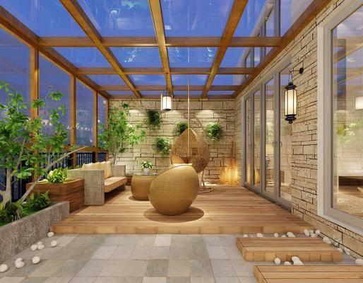 阳台露台, 单人沙发, 绿植植物, 壁灯, 多人沙发, 吊椅, 树木, 现代