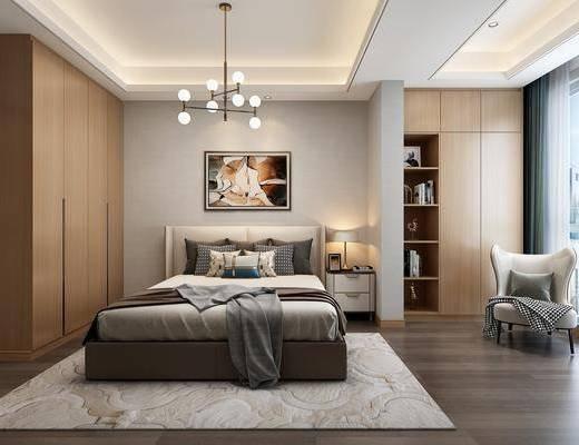 卧室, 床具组合, 现代卧室, 书柜, 书籍, 单椅, 摆件组合