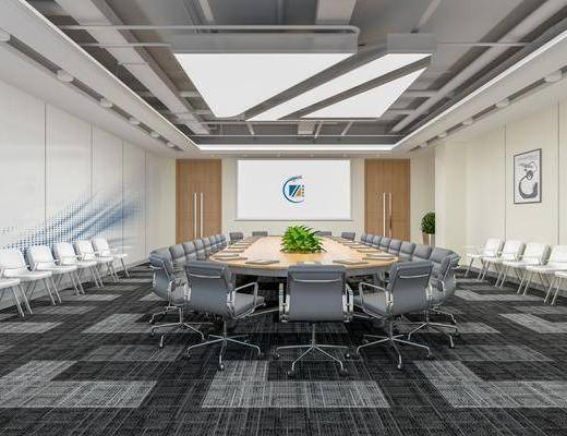 会议桌, 会议室, 屏幕, 桌花