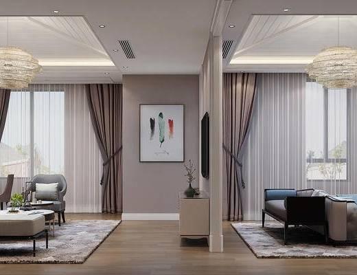 卧室, 美式卧室, 客厅, 美式客厅, 沙发组合, 床具组合, 茶几, 摆件, 双人床, 吊灯, 单椅, 摆件组合, 美式