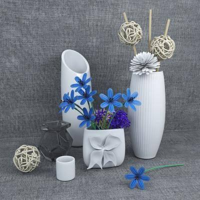 陶瓷器皿, 花瓶, 花卉, 日式