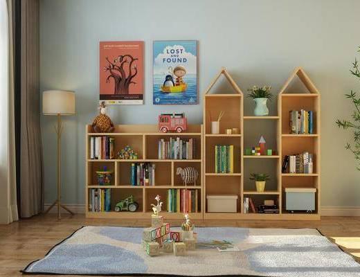 儿童柜, 柜架组合, 书籍, 落地灯, 地毯, 植物, 盆栽