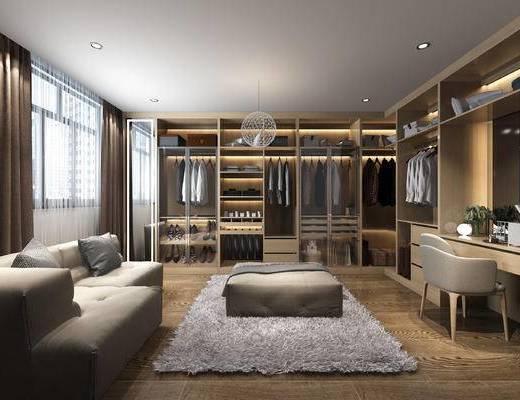 现代, 衣帽间, 沙发, 衣柜, 衣服, 梳妆台