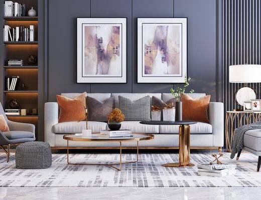 沙发组合, 现代沙发组合, 茶几, 摆件组合, 单椅