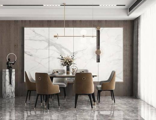 餐桌椅, 方形餐桌, 吊灯, 墙饰, 雕塑