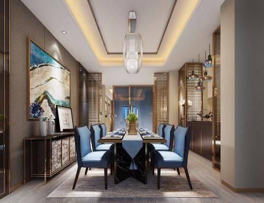 餐厅, 餐桌椅, 边柜, 装饰画, 挂画, 吊灯, 桌椅组合, 餐具, 后现代, 东南亚