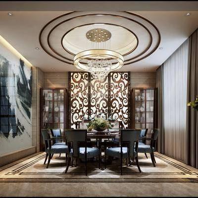 中式餐厅, 中式, 屏风, 装饰柜, 餐桌椅, 植物, 吊灯