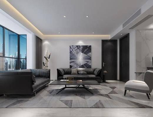 现代客厅, 现代餐厅, 客餐厅, 沙发组合, 沙发茶几组合