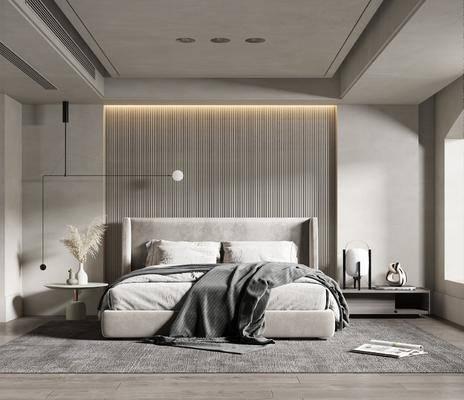 双人床, 床头柜, 摆件组合, 床具组合, 吊灯