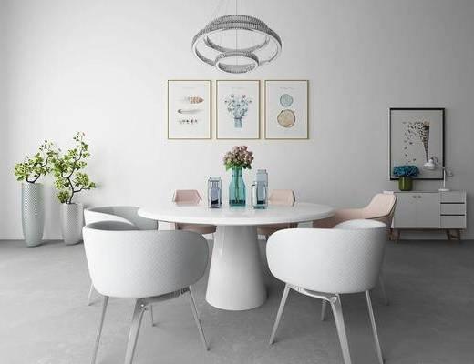 现代, 餐桌椅组合, 装饰画, 摆件, 绿植, 灯具