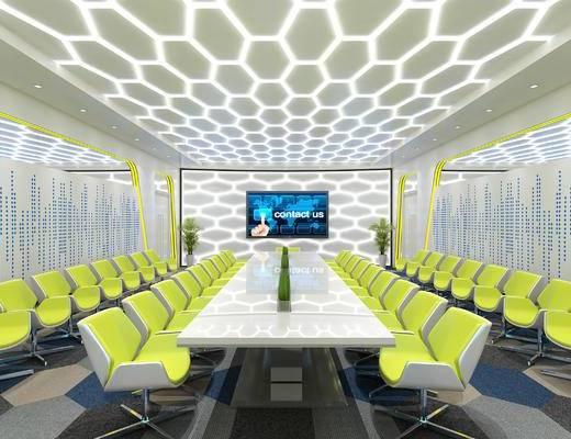 会议室, 会议桌, 办公椅, 椅子, 桌子, 现代