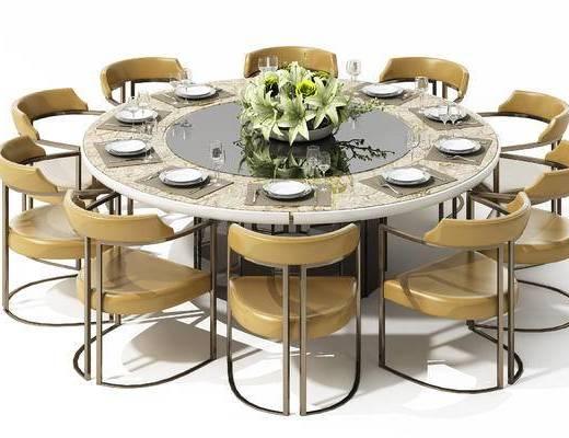 新中式, 餐桌, 椅子, 圆桌, 单椅, 装饰品, 植物, 餐具, 刀叉