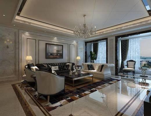 客厅, 新古典客厅, 新古典沙发, 沙发组合, 沙发茶几