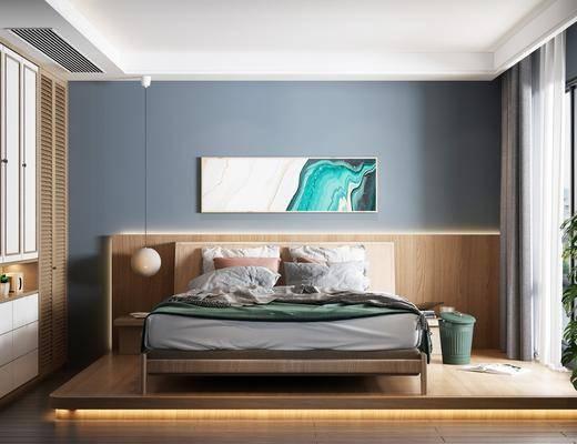 双人床, 衣柜, 装饰画, 吊灯, 地毯