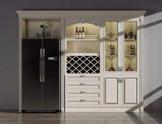 冰箱组合, 酒柜, 酒瓶, 简欧