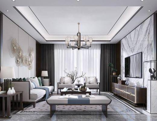 新中式客厅, 沙发组合, 组合, 电视柜组合, 沙发茶几组合, 客厅