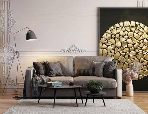 沙发组合, 沙发茶几组合, 现代沙发茶几组合, 双人沙发, 多人沙发
