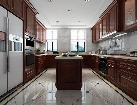 厨房, 橱柜, 厨具, 冰箱, 美式