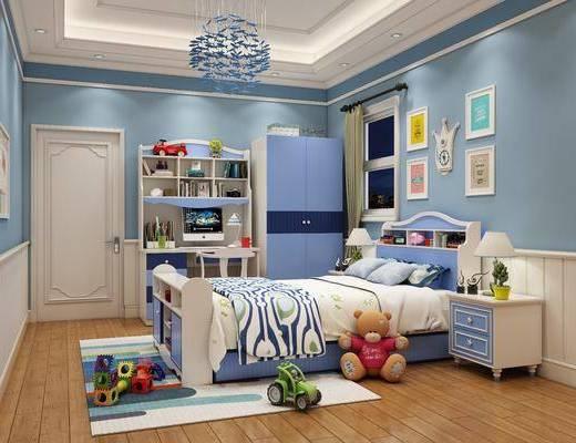 单人床, 吊灯, 装饰画, 床头柜, 桌椅组合, 写字桌, 衣柜