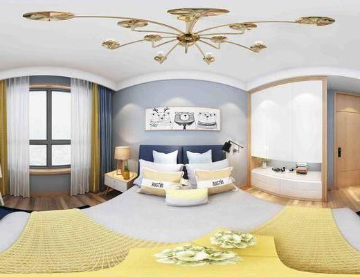 现代卧室全景, 双人床组合, 床头柜, 台灯, 吊灯, 衣柜摆件