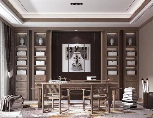 書房, 桌椅組合, 擺件組合, 掛畫組合, 新中式