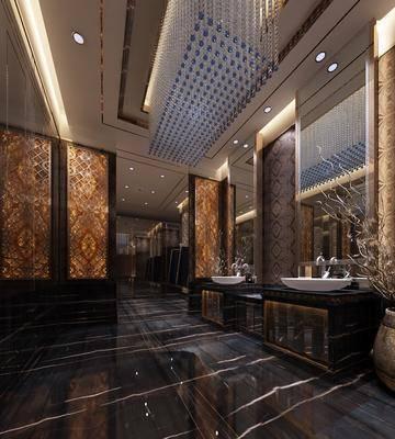卫生间, 卫浴组合, 镜子, 吊灯