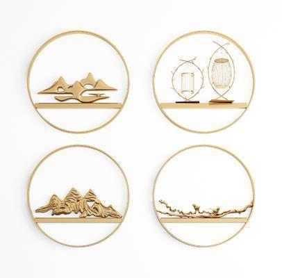 圆形墙饰, 金属墙饰, 挂件组合, 新中式