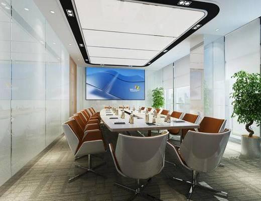 會議室, 會議桌椅, 盆栽組合, 綠植植物, 辦公桌椅組合, 現代