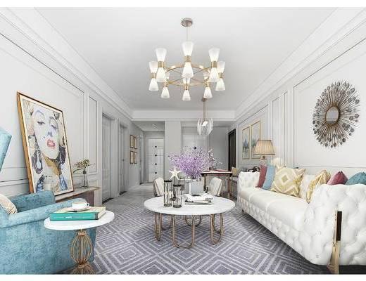 美式, 简美, 简欧, 后现代, 沙发组合, 客厅, 客餐厅, 餐桌椅, 多人沙发, 吊灯, 装饰画, 挂画, 电视柜, 茶几, 边几, 陈设品