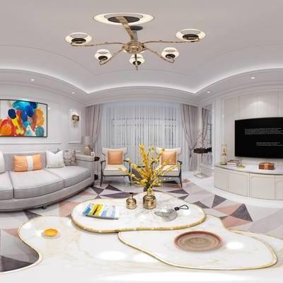 简欧客厅全景模型, 简欧客厅, 全景模型, 简欧, 沙发组合, 吊灯